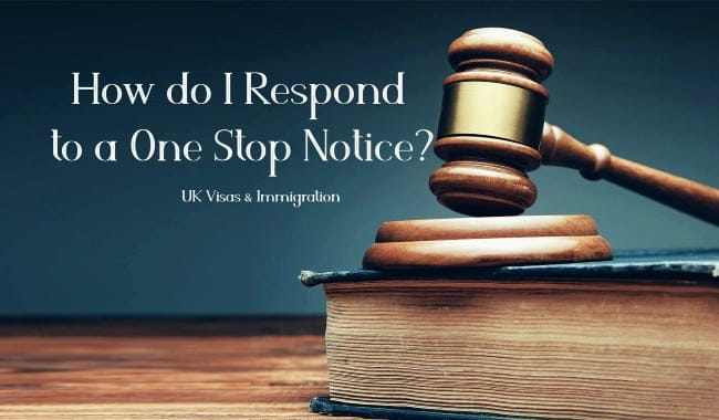 How do I Respond to a One Stop Notice LEXVISA Immigration Solicitors in London